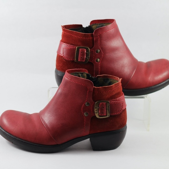 Fly London Red Leather ankle boots